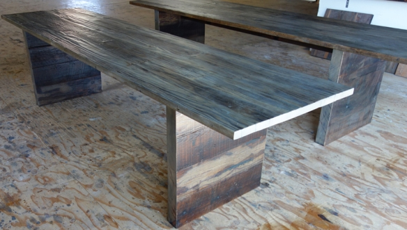 Redwood Table with Custom Finish made from Decking reclaimed from San Diego  Yacht Club - Reclaimed Wood Furniture E&K Vintage Wood